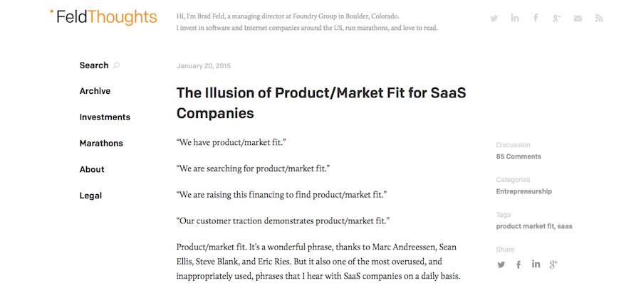 Content marketing by VC Brad Feld