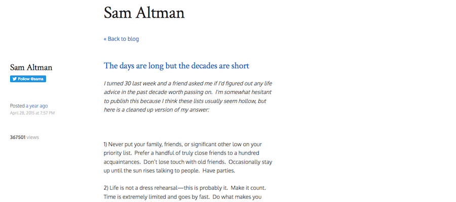 Content marketing by investor Sam Altman