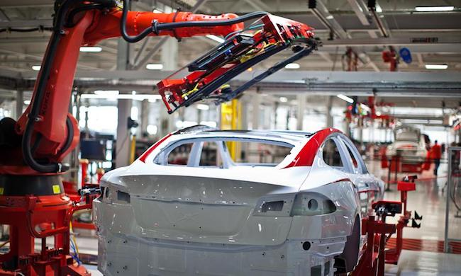 Industrial robots in Tesla factory