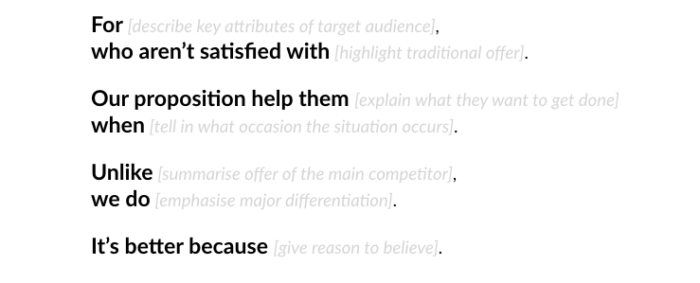 A template to capture your value proposition statement